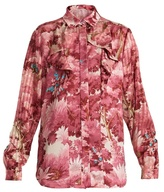 Marco De Vincenzo Painterly-print ruffle-trimmed satin shirt