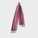 Paul Smith Men's Red 'Bright Check' Wool Scarf