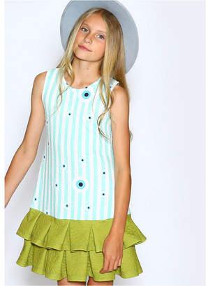 Lanoosh Toddler Girls A-Line Dress with Box Pleat Hem Skirt