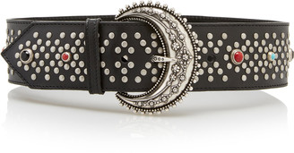 Etro Wide Studded Leather Belt