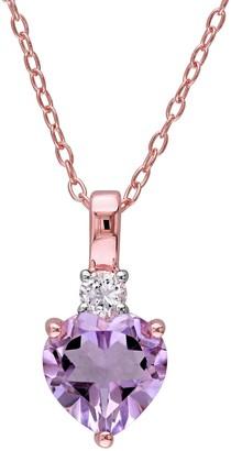 Stella Grace 18k Rose Gold Over Silver Rose de France Amethyst Heart Pendant Necklace
