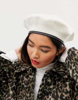 Asos Design DESIGN wool beret with bound edge in white