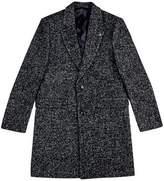 Burton Burton Grey Tailored Fit Textured Herringbone Coat