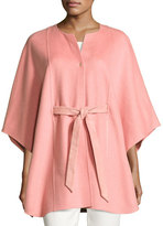Loro Piana Avery Belted Cashmere Cape, Coral