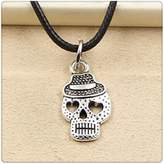 Nobrand No brand Fashion Tibetan Silver Pendant skeleton skull hat Necklace Choker Charm Black Leather Cord Handmade Jewlery