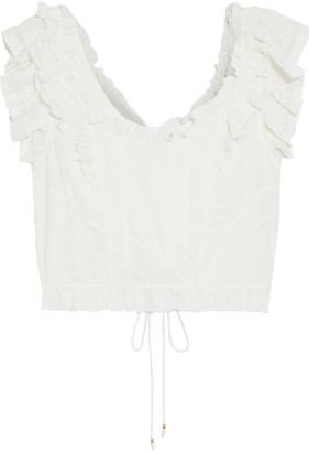 Ulla Johnson Leona Lace-up Ruffled Cotton-voile Top