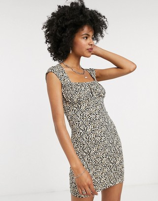 Topshop bodycon mini dress in leopard print