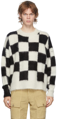 Palm Angels Black and White Check Mohair Sweater