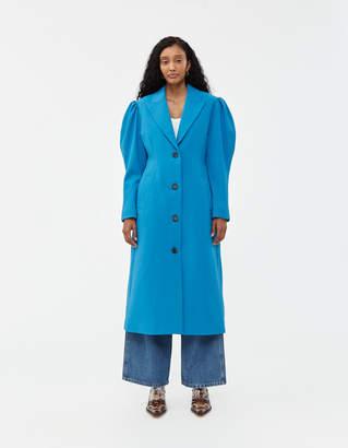 Pushbutton Puff Sleeved Slim Coat