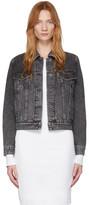 Pushbutton Grey Denim Neck Frills Jacket
