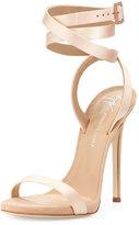 Giuseppe Zanotti Leslie Satin Ankle-Wrap 120mm Sandal, Nude
