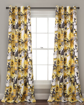 Triangle Home Fashion Floral Watercolor Room Darkening Window Curtain Panels