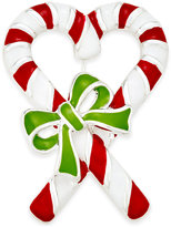 Charter Club Silver-Tone Enamel Candy Cane Brooch, Only at Macy's