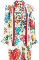 Gucci floral print ruffle trim shirt dress