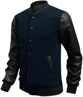 uxcell Man's Long Imitation Leather Sleeve Rib Knit Collar Snap Button Jacket