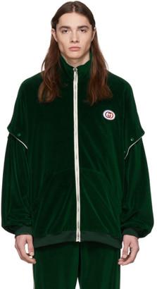 Gucci Green Convertible Velvet Track Jacket