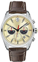 Ferrari Mens Scuderia GTB-C Stainless Steel Brown Leather Strap Watch