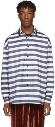 Sunnei Blue and White Stripes Shirt