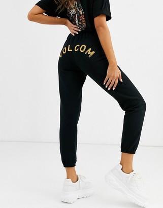 Volcom Stone fleece logo tracksuit bottom in black