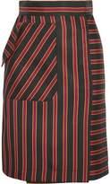 Tomas Maier Striped Satin-Twill Skirt