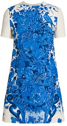Valentino Printed Wool & Silk Shift Dress