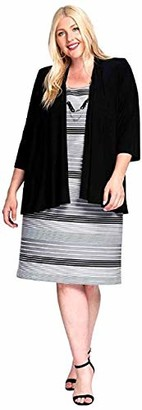 R & M Richards R&M Richards Women's Plus Size 2 PCE Printed Dress and Sold Jacket Black/TAUP 22W