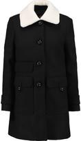 Maje Faux shearling-trimmed wool-blend coat