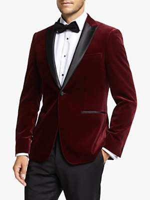 John Lewis & Partners Peak Lapel Velvet Slim Fit Dress Suit Jacket, Burgundy