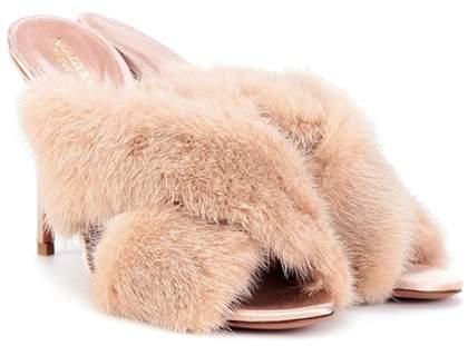 Aquazzura Purr 105 fur sandals