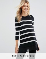 Asos Breton Stripe Sweater with Button