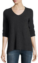 Neiman Marcus Cashmere V-Neck w/ Beaded Trim