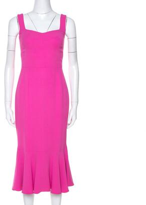 Dolce & Gabbana Pink Crepe Sleeveless Flounce Dress S