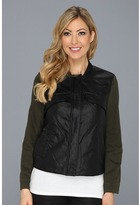 Vince Camuto TWO by Faux Leather Cross Dye Military Jacket (Dark Leaf) - Apparel