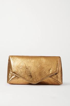 Dries Van Noten Metallic Crinkled-leather Clutch - Gold