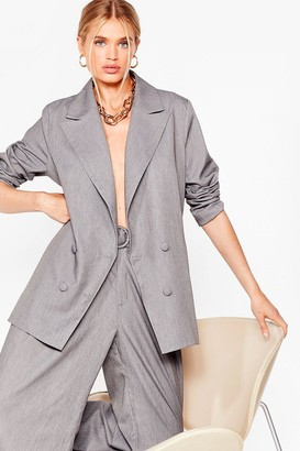 Nasty Gal Womens Meeting's Over Double Breasted Oversized Blazer - Grey