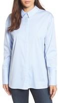 Halogen Petite Women's Back Bow Poplin Shirt