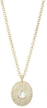 Ef Collection 14K Yellow Gold, White Quartz & Diamond Pendant Necklace