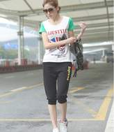 SY-001 Summer Women 3/4 length cropped capris trousers sport harem pants (S, )