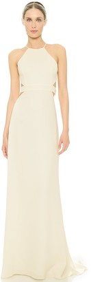 Halston Women's Halter Neck Crepe Gown with Cut Outs