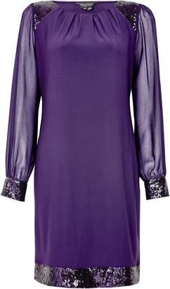 Dorothy Perkins Womens **Billie & Blossom Purple Sequin Hem Shift Dres, Purple
