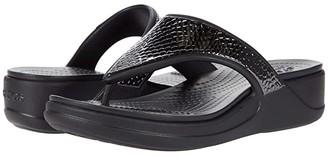 Crocs Monterey Metallic Wedge Flip (Dark Charcoal/Black) Women's Wedge Shoes