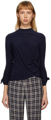 Rokh Navy Knotted Long Sleeve T-Shirt