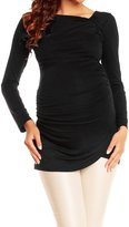 Happy Mama Boutique Happy Mama. Women's Maternity Long Sleeve Stretch Jersey Drape Tunic Top. 941p