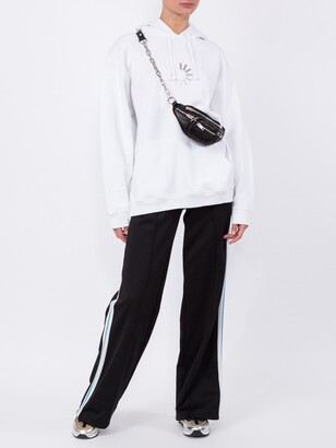 Off-White wide leg side stripe track pants black
