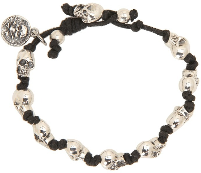 King Baby Studio Knotted Cord Bracelet With Skulls (Silver) - Jewelry