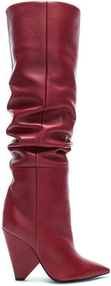 Saint Laurent Niki Thigh High Boots in Hot Red | FWRD