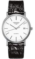 Longines Men's Black Leather Band Steel Case Automatic White Dial Analog Watch L49214122