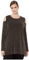 MICHAEL Michael Kors Plus Size Sparkle Stripe Cold-Shoulder Top (Black/Gold) Women's Clothing