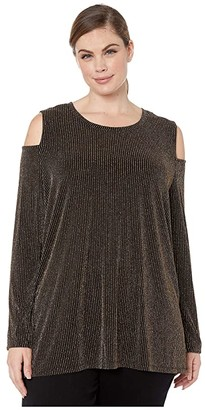 MICHAEL Michael Kors Size Sparkle Stripe Cold-Shoulder Top (Black/Gold) Women's Clothing