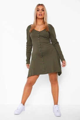 boohoo Plus Button Front Rib Swing Dress